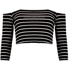 Boohoo Andrea Striped Off The Shoulder Rib Crop Top (€8,51) ❤ liked on Polyvore featuring tops, shirts, crop tops, crop, cami crop top, ribbed crop top, off shoulder tops, polka dot crop top and off shoulder crop top
