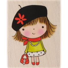 Penny Mounted Rubber Stamp 2.25X2.75-Bonjour!
