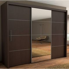 This is Sliding Three Door Wardrobe With Center Glass Item of Three Door Sliding Wardrobe Designs. Elegant Sliding wardrobes design ideas around the world for your home. Best Wardrobe Designs, Sliding Wardrobe Designs, Sliding Door Design, Wardrobe Design Bedroom, Bedroom Furniture Design, Closet Designs, Closet Bedroom, Sliding Doors, Modern Wardrobe