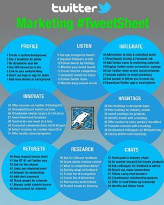#Infography - #TwitterMarketing Tweet Sheet