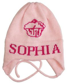 Personalized Cupcake Knit Hat with Earflaps