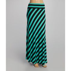 POPULAR BASICS Black & Jade Stripe Maxi Skirt ($12) ❤ liked on Polyvore…