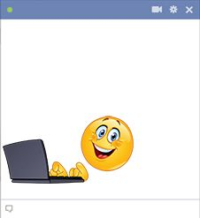Smiley using a laptop