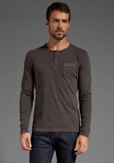 DIESEL Henley in Charcoal at Revolve Clothing