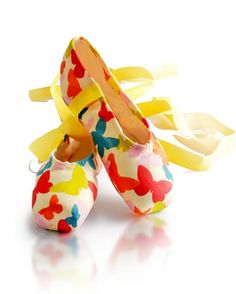 Butterfly decorated pointe shoes