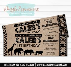 Printable African Safari Animal Ticket Birthday Invitation | Jungle Animals | Zoo Party Invite | Boys 1st Birthday Party | Giraffe | Elephant | Lion | King of the Jungle | Tribal | Cupcake Toppers | Favor Tag | Food Labels | Banner | Party Package Decor