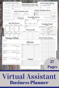 Virtual Assistant Business Planner Everything you need to plan, run and evaluate your virtual assistant business. --------------------------------------------------------------------------------------------------------- SIZES: A4 and Letter Size WHATS INCLUDED: SERVICES: ► Services List With Prices ► Services And Packages List ► Package Details/ Descriptions ► Clients List ► Suppliers List SOCIAL MEDIA ► Blog Post Planner ► Editorial Calendar ► Instagram Weekly Editorial Calendar ► F...