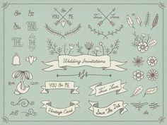 elementos de casamento desenhados mão Vetor grátis