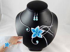 Ange - Parure 3 pièces fleur turquoise et blanche, plumes - personnalisable : Parure par creation-ninie
