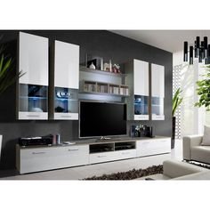 Timore Living Room Set In White And Clear Sonoma With LED Lights