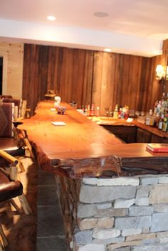 Wood Bar Countertops | Natural wood wet bar top crafted from live edge natural wood slabs The ...