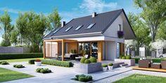 <p>Avec sa terrasse en bois, son petit jardin et son mobilier d'extérieur, on peut dire que l'extérieur de cette maison ne manque de rien pour permettre à ses habitants de profiter des beaux jours. </p> Credits: homify / HomeKONCEPT | Projekty Domów Nowoczesnych