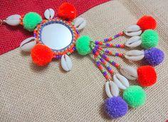2 Cowrie Shell Tassels Mirror Charms Purse & Handbag