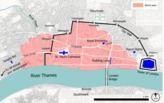 Map of the Great Fire of London. Areas reached by the Great Fire are shown in pink. The site of the origin of the Fire was in Pudding Lane; fanned by an east wind, the fire spread west. Most of the ancient City of London was destroyed. London Bridge, Tower Of London, London City, Fleet Street, London History, British History, The Fire Of London, Central London Map, London Wall
