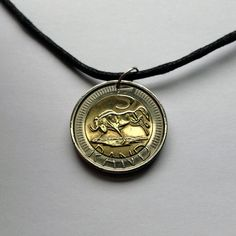 2005 South Africa 5 rand coin pendant charm necklace jewelry African wildebeest bucking kicking antelope Afrika Dzonga bi-metallic No.000718 by acnyCOINJEWELRY on Etsy