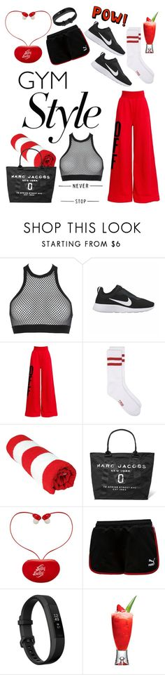 """""""Gym Style : Never Stop"""" by amlabel ❤ liked on Polyvore featuring Dsquared2, NIKE, Off-White, Marc Jacobs and Fitbit"""