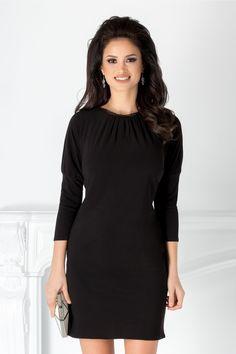 Rochie Moze neagra cu guler din tull - Rochii Femei - Rochii de Ocazie Femei Smart Casual, Peplum, Cold Shoulder Dress, Stuff To Buy, Dress Black, Beauty, Beautiful, Instagram, Dresses
