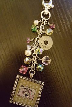 Planner Charm with beads on headpins and wire loop wrapped to attach to chain