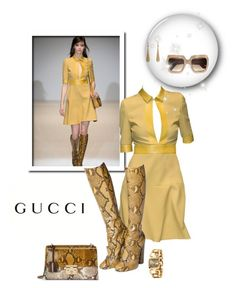 """""""Yellow Gucci"""" by leanne-mcclean ❤ liked on Polyvore featuring Gucci, yellow, Boots, snakeskin, gucci and Kneehighboots"""