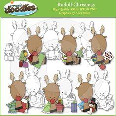 Rudolf Christmas Clip Art with Line Art