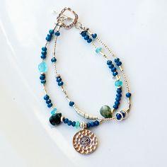 Sterling Silver Bracelet - Multi-Strand Bracelet in Silver - Artisan Beaded Bracelet in Jade - Blue Green Bracelet - Charm Bracelet for Her by PETALTOMETALJEWELS on Etsy