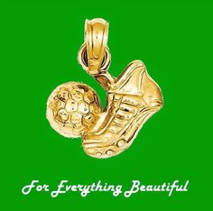 Football Boot With Ball Polished Small 14K Yellow Gold Pendant Charm