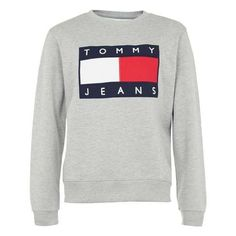 Tommy Jeans Grey Marl Logo Sweatshirt (300 MXN) ❤ liked on Polyvore featuring tops, hoodies, sweatshirts, tommy hilfiger sweatshirt, grey top, tommy hilfiger, gray sweatshirt and logo tops