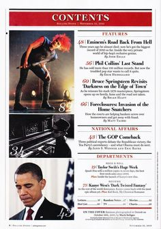 like the two sides of a contents page Magazine Contents, Content Page, Last Stand, Phil Collins, Eminem, Rolling Stones, Hip Hop, Ideas, The Rolling Stones