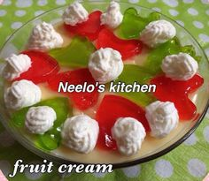 Fruit cream/ trifle by Neelofar Naeem heart emoticon Using same recipe you can make different flavor trifle. Use mango custard and ad. Heart Emoticon, Fruit Salads, Trifle, Custard, Caprese Salad, Mango, Cream, Kitchen, Recipes