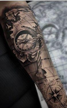 Nautical Tattoo Sleeve, Forearm Sleeve Tattoos, Tattoo Sleeve Designs, Nautical Tattoos, Pirate Map Tattoo Sleeve, Pirate Compass Tattoo, Compass And Map Tattoo, Tattoo Sleeves, Forarm Tattoos