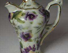 Victoria's Garden of Lowell MA Purple Chintz flower patterned miniature decorative tea pot - Edit Listing - Etsy