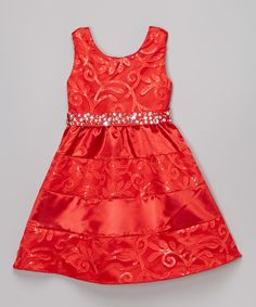 Loving this Red Damask A-line Dress on #zulily! #zulilyfinds