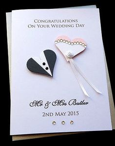#Handmade #personalised #congratulations wedding day bride & groom card…