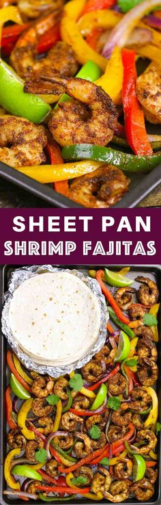 These Baked Shrimp Fajitas is an easy one pan meal with gorgeously browned and sizzling shrimp mixed with delicious vegetables cooked with fajita seasonings. It tastes amazing and takes only 20 minutes to make. #shrimpFajitas