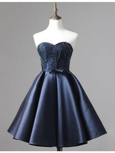 Chic Sweetheart Short Navy Blue Prom Homecoming Dress with Sash Beading