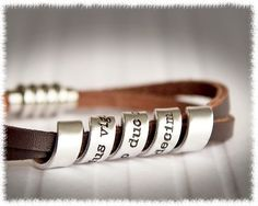 Men's Leather Bracelet - Men's Personalized Jewelry. $40.00, via Etsy.