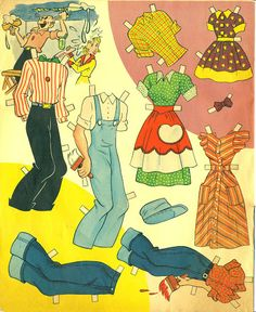 Blondie 1954 - Bobe Green - Picasa Web Albums Vintage Paper Dolls, Vintage Toys, Free Paper, Diy Paper, Blondie And Dagwood, Wooden Clothespins, Bobe, Vintage Fisher Price, Childhood Toys