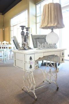 Shabby Chic Singer Sewing Machine Table with Antique White Finish.  Would be perfect for an entry way.