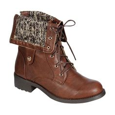 Refresh Brown Fold-Over Knit Dason Boot ($25) ❤ liked on Polyvore featuring shoes, boots, ankle booties, ankle boots, lace-up ankle booties, brown lace up booties, lace-up ankle boots and lace up bootie
