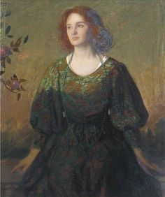 Thomas Edwin Mostyn (1864-1930) - Portrait of a lady in a green and gold dress