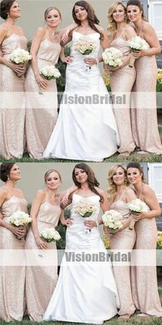 Spaghetti Straps Cheap Long Sequin Bridesmaid Dresses dd55aac039dc