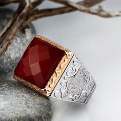 Mens Ring 925 Silver Red Agate Natural Gemstone Ring Mans 9-11 US sizes…