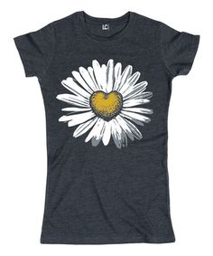 Another great find on #zulily! Heather Blue Daisy Heart Fitted Tee #zulilyfinds