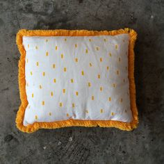 White with Mustard Dash Print and Fringe Cushion. Interior Styling, Interior Decorating, Mustard, Cushions, Interiors, Vintage, Collection, Home Decor, Style