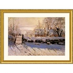 Great American Picture The Magpie, 1869 Gold Framed Print - Claude Monet - 13604-Gold