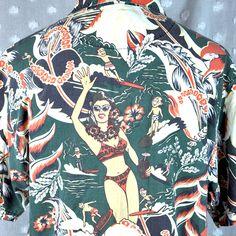 Tommy Bahama Beach Babe Tiki Mug Surfer Mascot Hawaiian Shirt Large Retro Leis #TommyBahama #Hawaiian