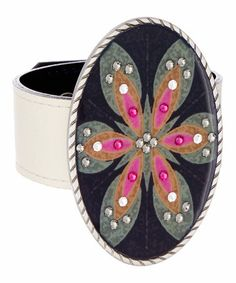 Take a look at this Black & White Reversible Leather Bracelet & Flower Medallion on zulily today!