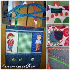 Bolsa vaquera y loneta.  Con bordados, piquillos, flores de tela y tela 100% algodon con motivos de niños