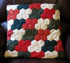 Patchwork Christmas Hexagon Cushion Cover in Red, Green and Cream