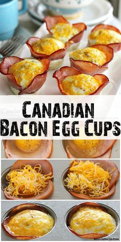 Canadian Bacon Egg Cups – Easy breakfast recipes are the best. Mornings are usually harried for most everyone darting to get to their destination on time. Recipes with eggs Bacon Egg Cups, Bacon Egg Muffins, Bacon Egg And Cheese, Egg Muffin Cups, Sausage Egg Cups, Bacon Breakfast, Breakfast Recipes, Breakfast Egg Cups, Keto Breakfast Muffins